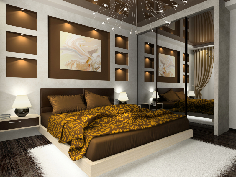 Interior of the comfortable bedroom in brown color