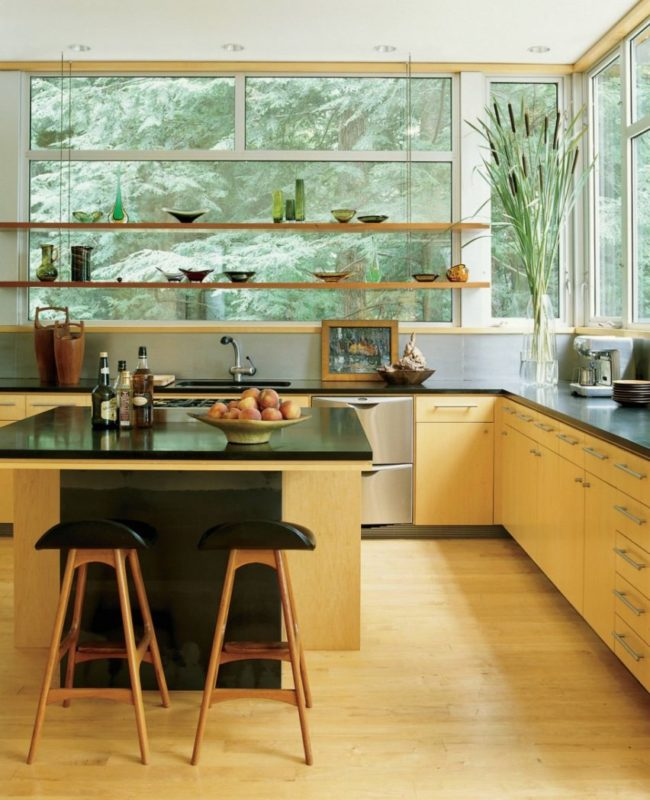 picture-windows-with-hanging-shelves-and-backsplash-design-also