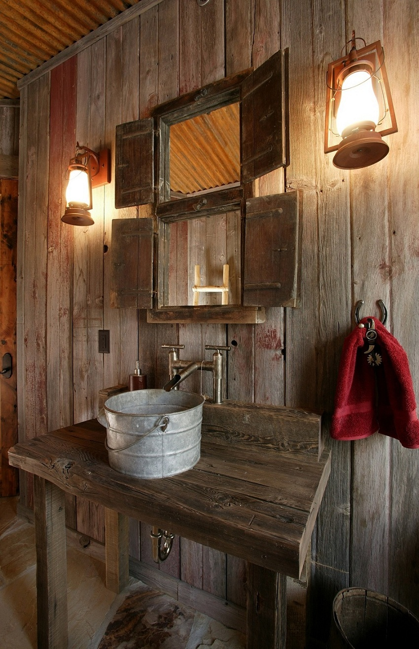 unique-washbowl-with-handle-plus-rustic-bathroom-wall-lighting-ideas-and-framed-vanity-mirror-design