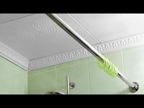Установка карниза для шторы в ванной.