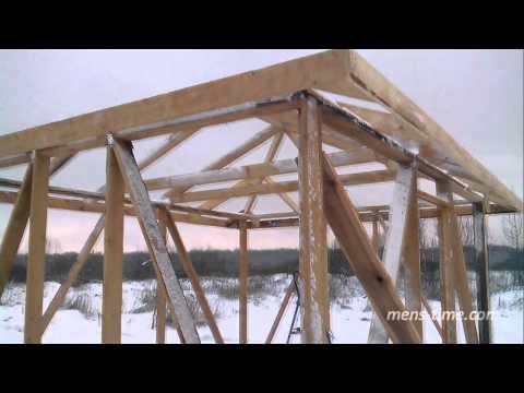 ч.3 Бытовка своими руками Стропилы Вальмовая крыша