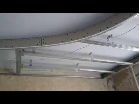 потолок, как сделать правильный овал с подсветкой. Монтаж гипсокартона.