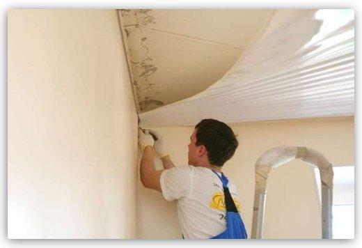 как выровнять потолок натяжным потолком