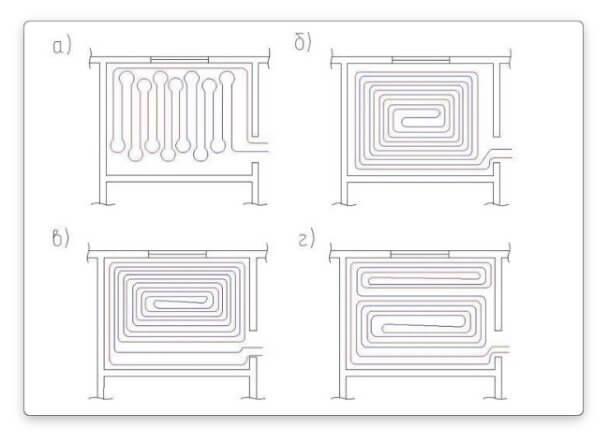 водяной теплый пол - схемы укладки