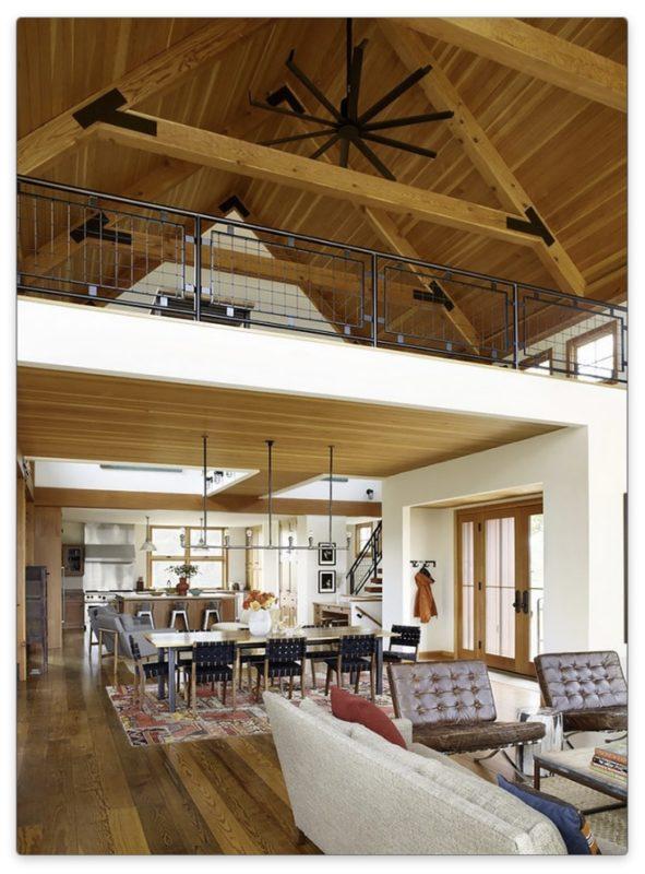 дизайн кухни-гостиной в деревенском стиле
