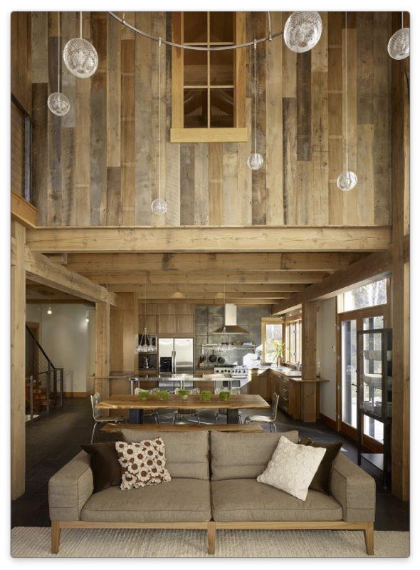 деревянная мебель кухни и гостиной
