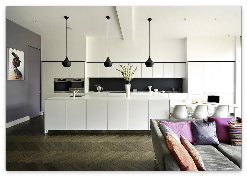 дизайн кухни-гостиной в черно белом цвете