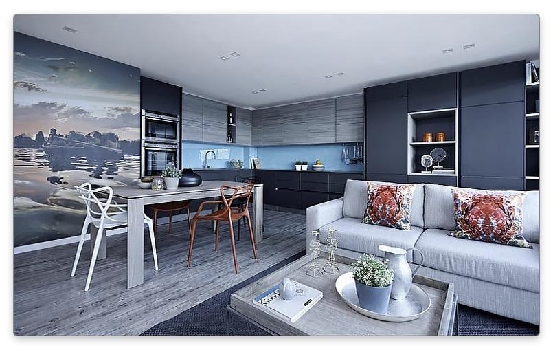 дизайн кухни-гостиной в серых оттенках