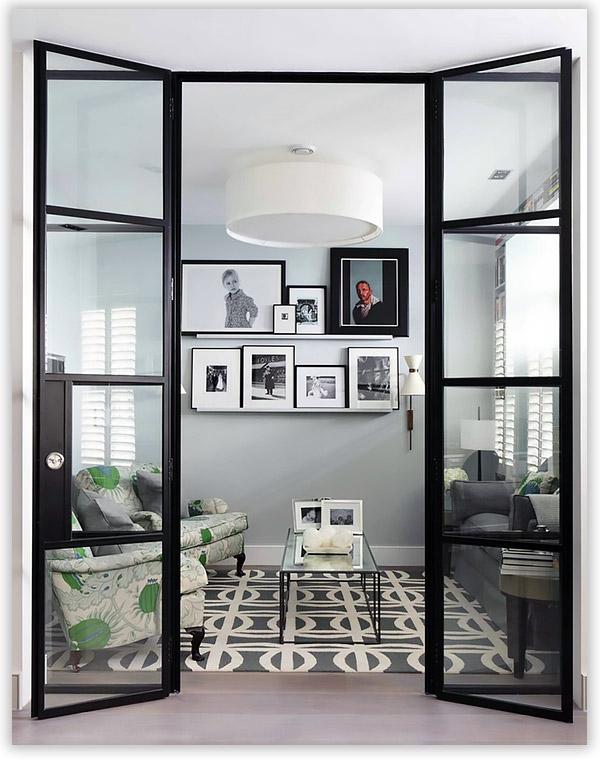 стеклянные двери в гостиную