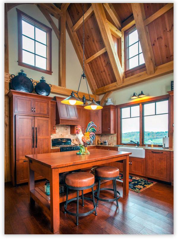 дизайн кухни в частном доме в стиле кантри