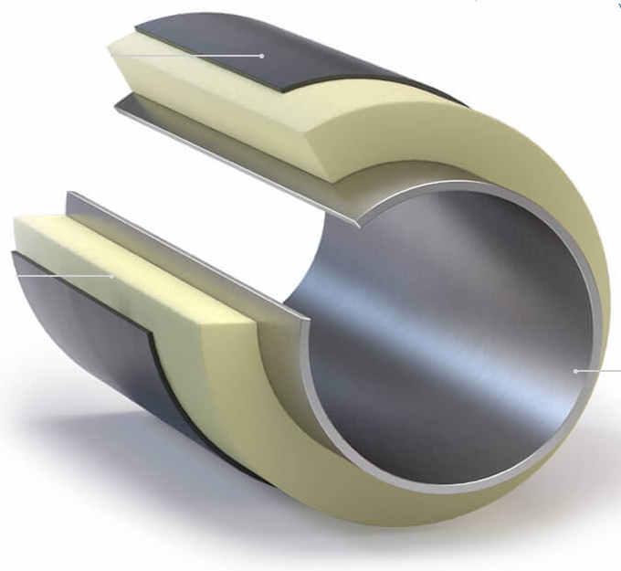 Трубы ППУ в оболочке из полиэтилена и оцинкованной стали