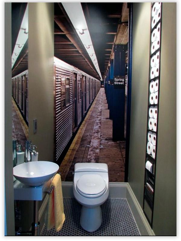 Фотообои в интерьере туалета