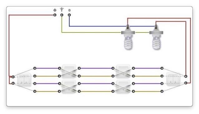 Схемавключения 2-х клавишного проходного выключателя
