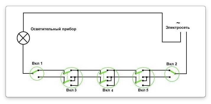 Проводка при управлении лампой из трех мест