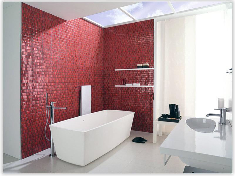 плитка для ванной комнаты красная мозаика