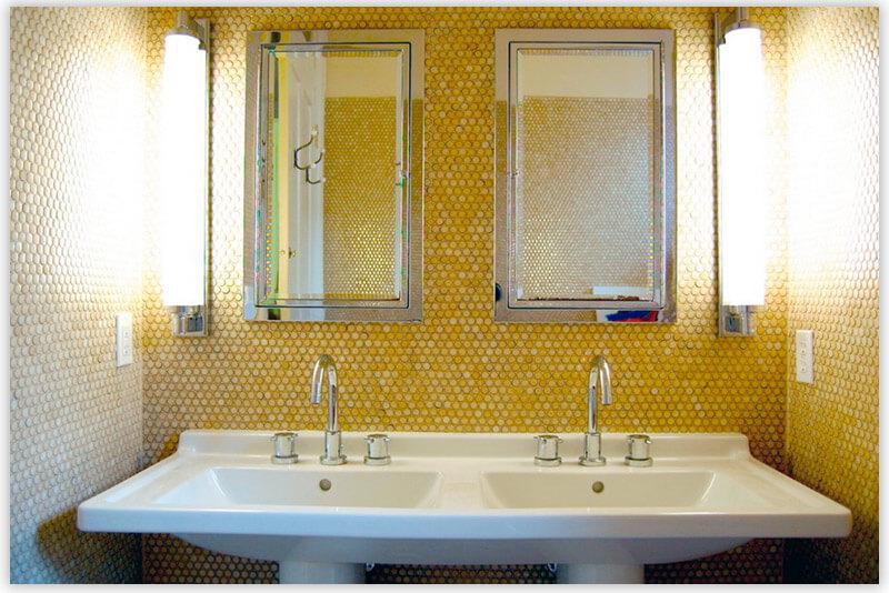 плитка для ванной комнаты желтая мозаика