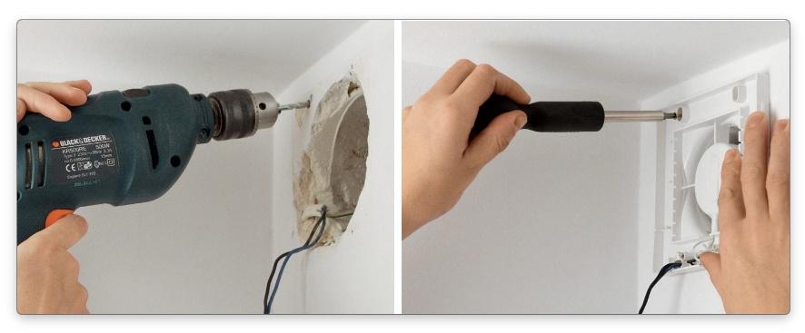 установка вентилятора для вытяжки