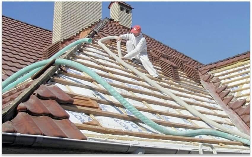 утепление крыши эковатой